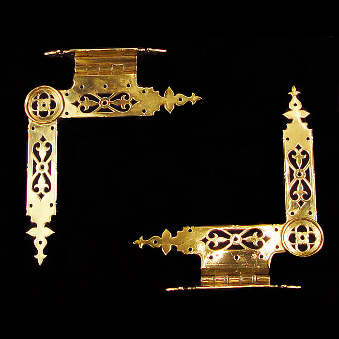 A Pair of Gothic Revival Brass Door Hinges