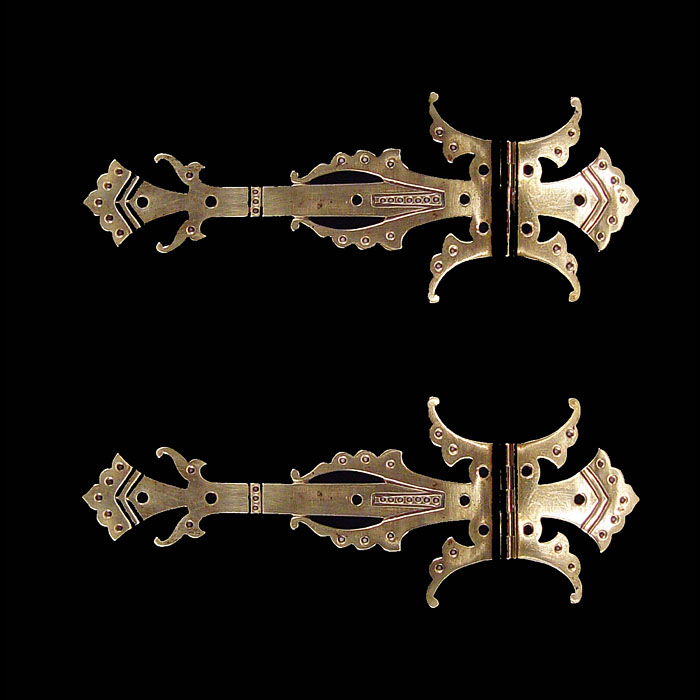 A Pair of Gothic Revival Brass Hinges