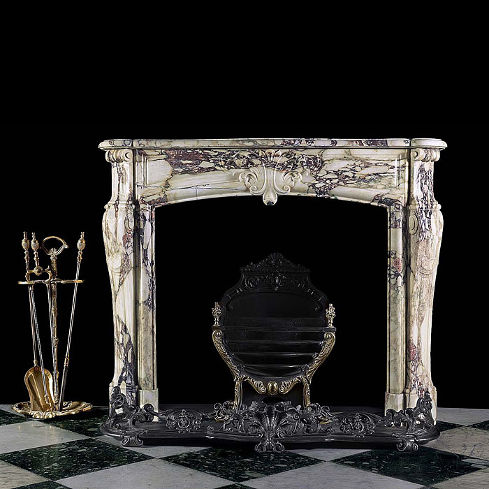 Antique French Breccia Marble Fireplace