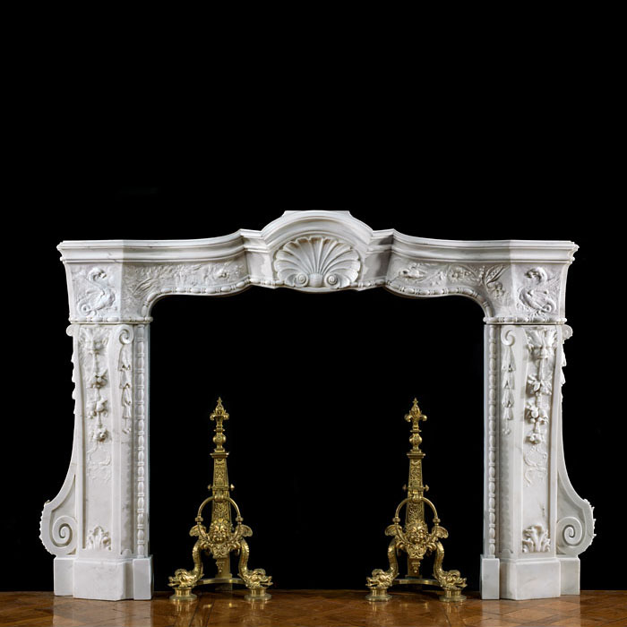 Rare Italian Baroque Marble Fireplace Mantel