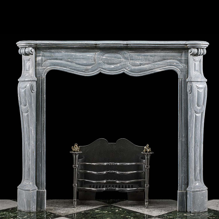 A Grey Marble Pompadour Fireplace Surround