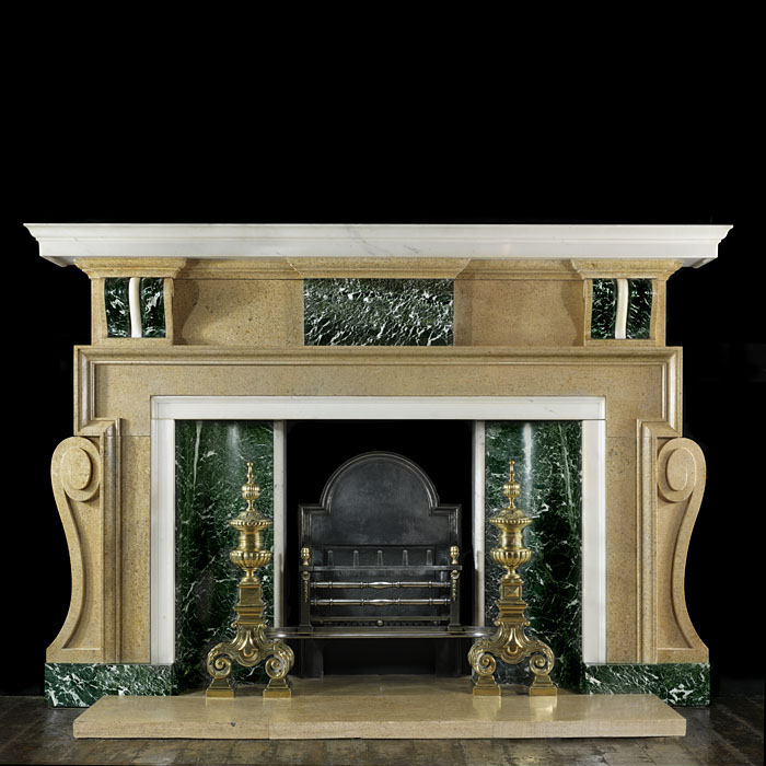 A Fossil Stone Palladian Style Fire Surround
