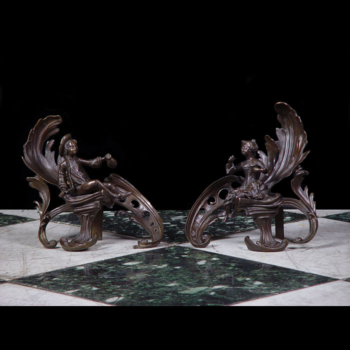 A Pair of Louis XV Style Bronze Chenets