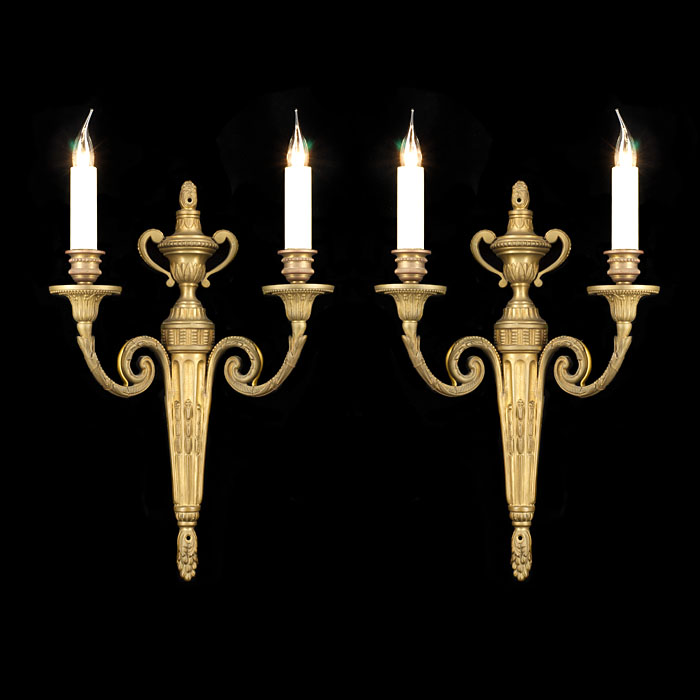 A Pair of Louis XVI Style Brass Wall Lights