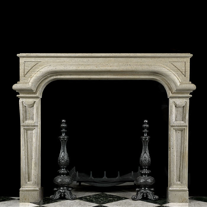 Italian Baroque Revival Stone Fireplace