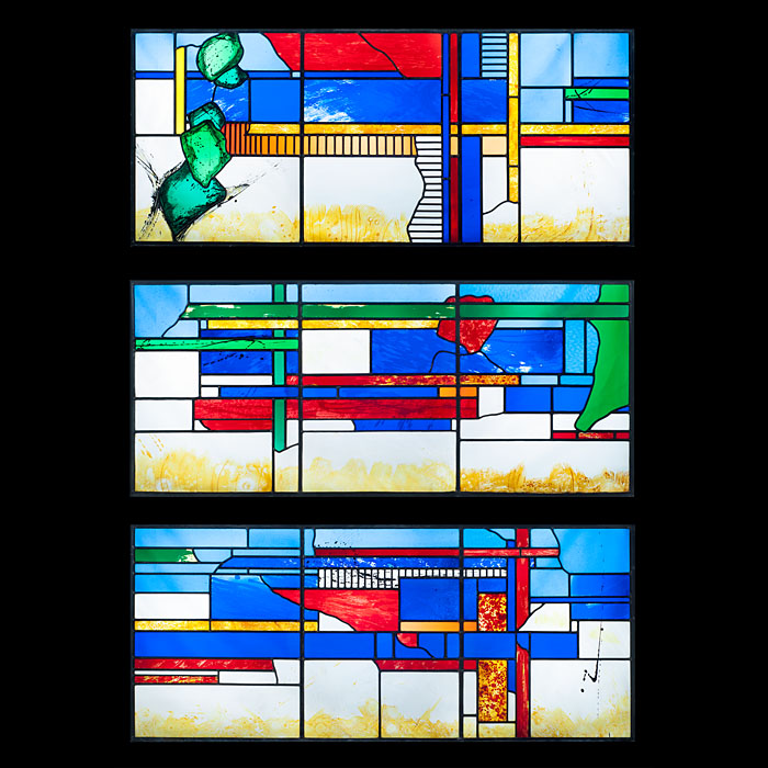 A 20th Century Stained Glass Triptych Window