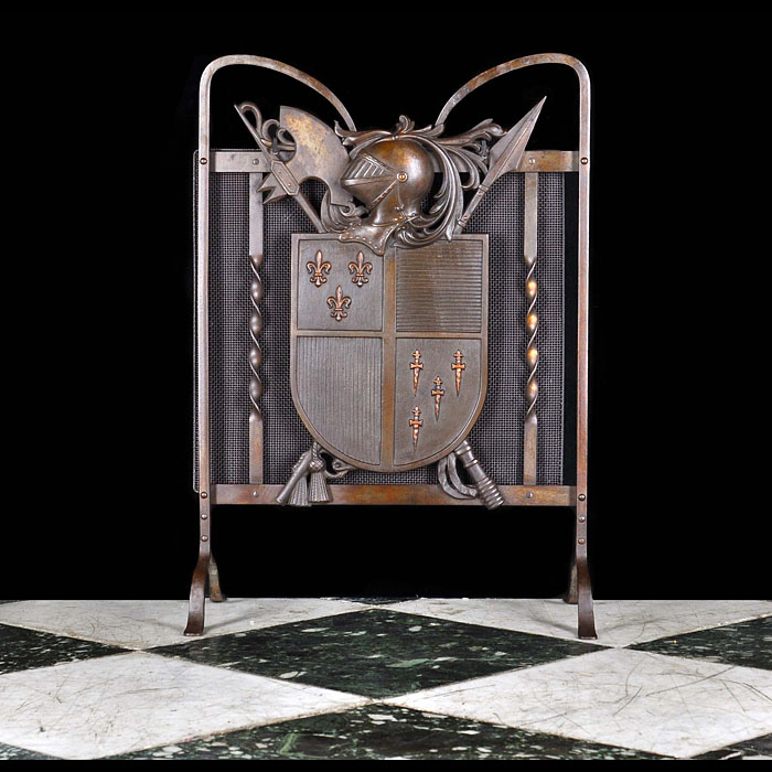 A Bronze & Cast Iron Armorial Fire Guard