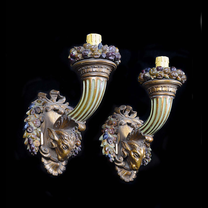 A Pair of Baroque Style Wooden Wall Sconces