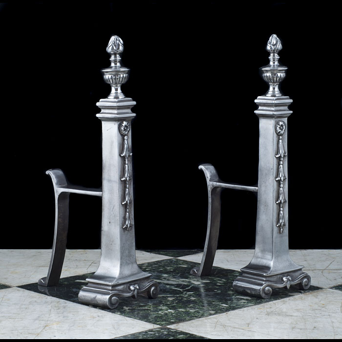 Cast Iron Classically Styled Andirons