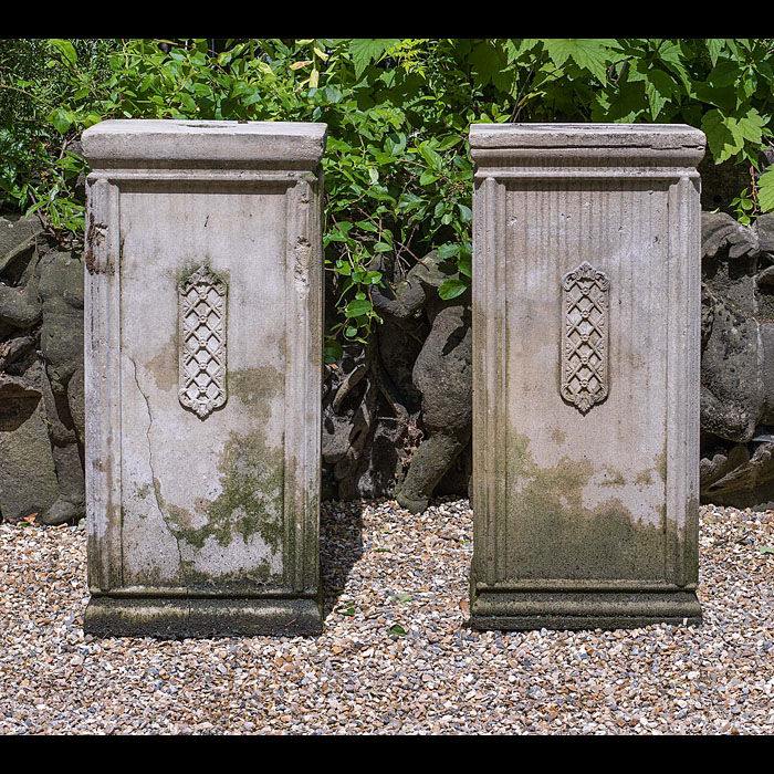 A Pair of Composition Stone Garden Plinths