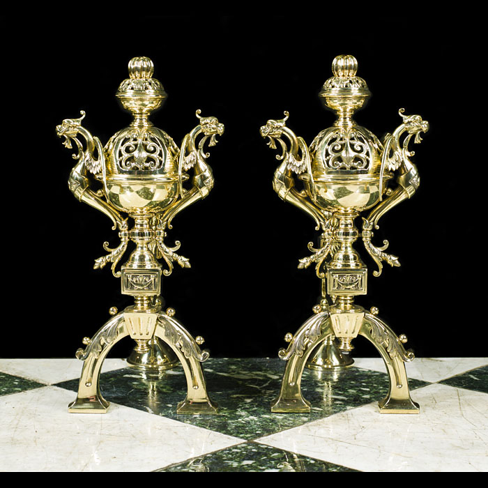 French Baroque Style Brass Fire Tool Rests