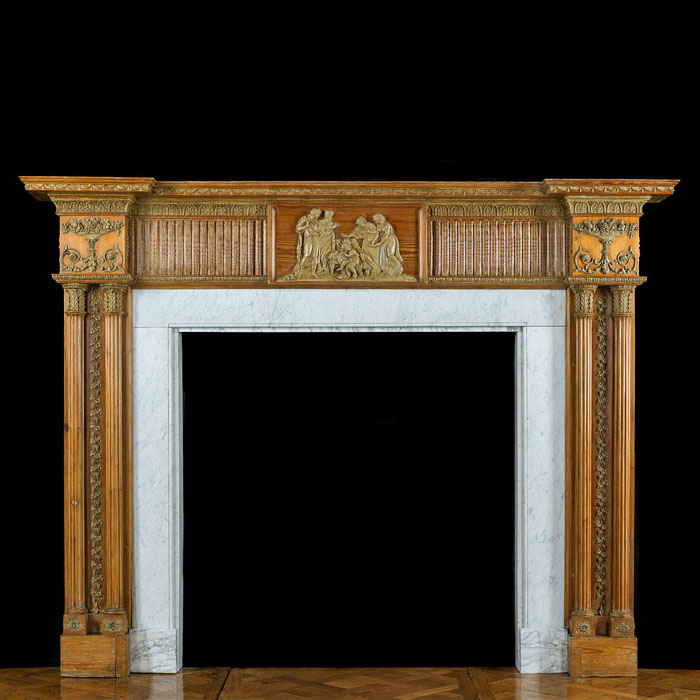 A George III Columned Pine Fireplace Mantel