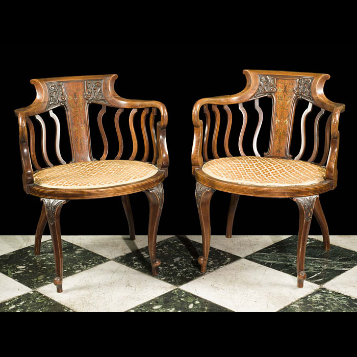 A Pair of Edwardian Inlaid Marquetry Chairs