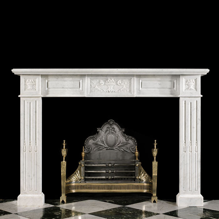 A Louis XVI Style Marble Fireplace Surround