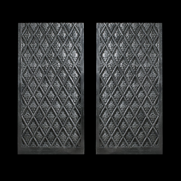 A Pair of Cross Hatched Fireplace Panels