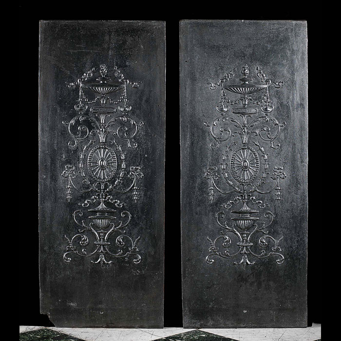 A Pair of French Cast Iron Fireplace Panels