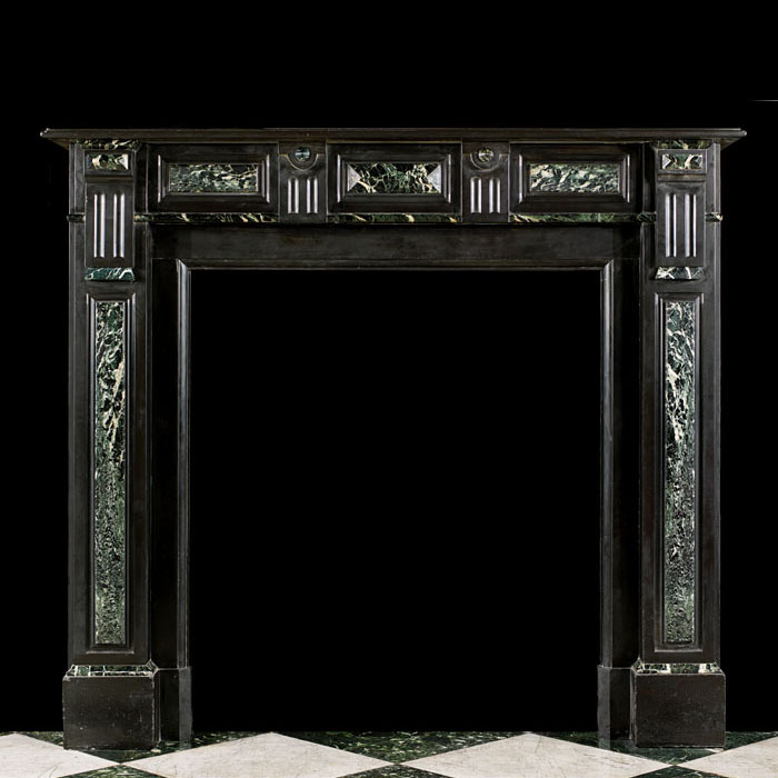 Small Belgian Black Marble Antique Fireplace