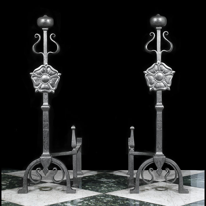 Tall Arts & Crafts Baroque Style Andirons