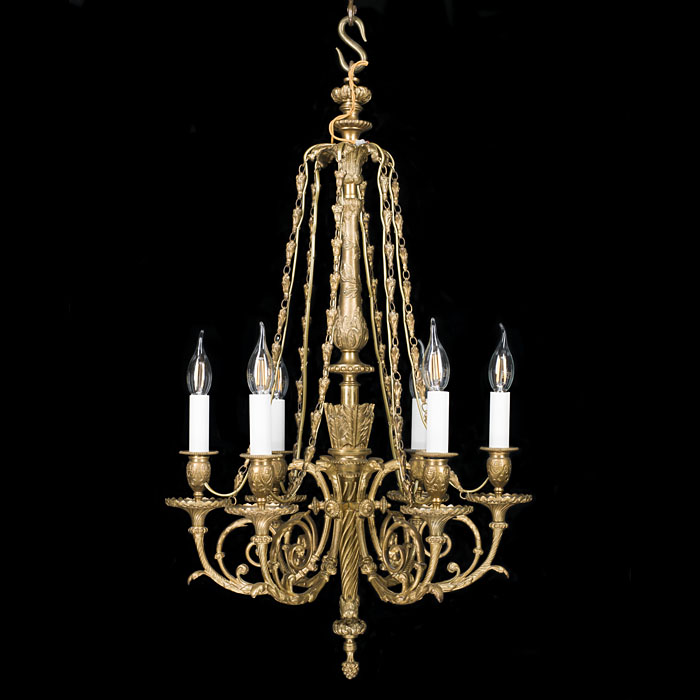 A Neoclassical Style Bronze Chandelier