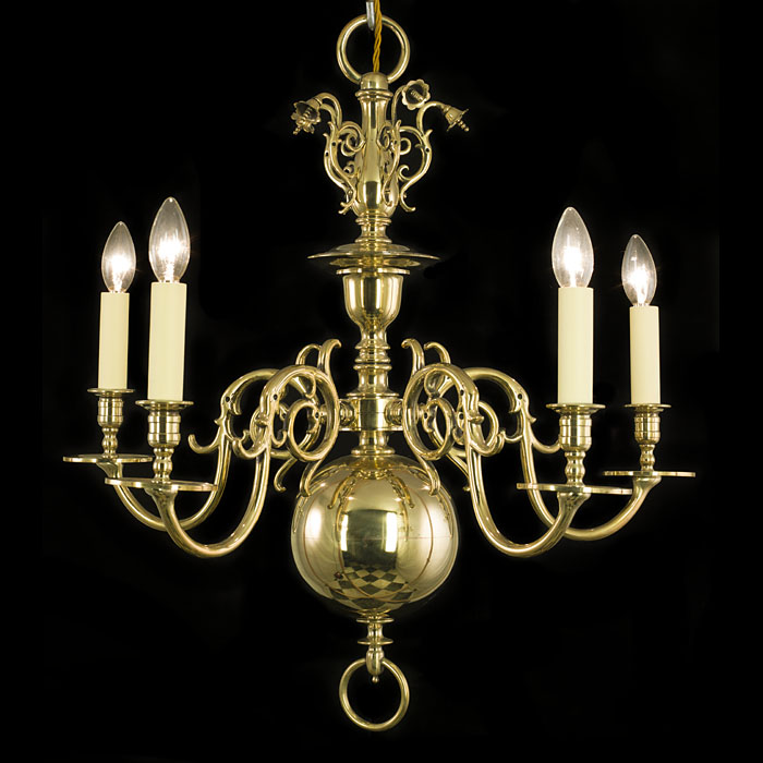 An English Baroque Style Brass Chandelier