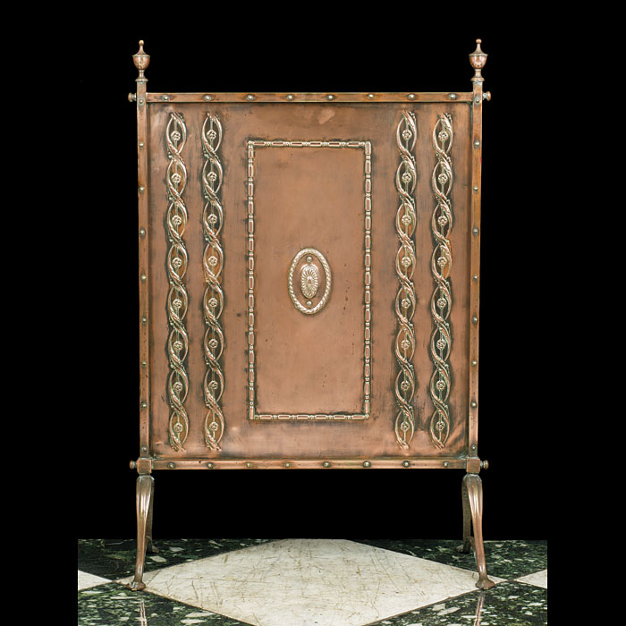 A Copper & Brass Arts & Crafts Fire Screen