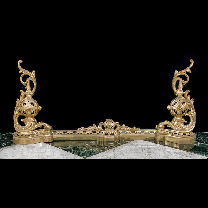 A French Rococo Style Brass Fireplace Fender