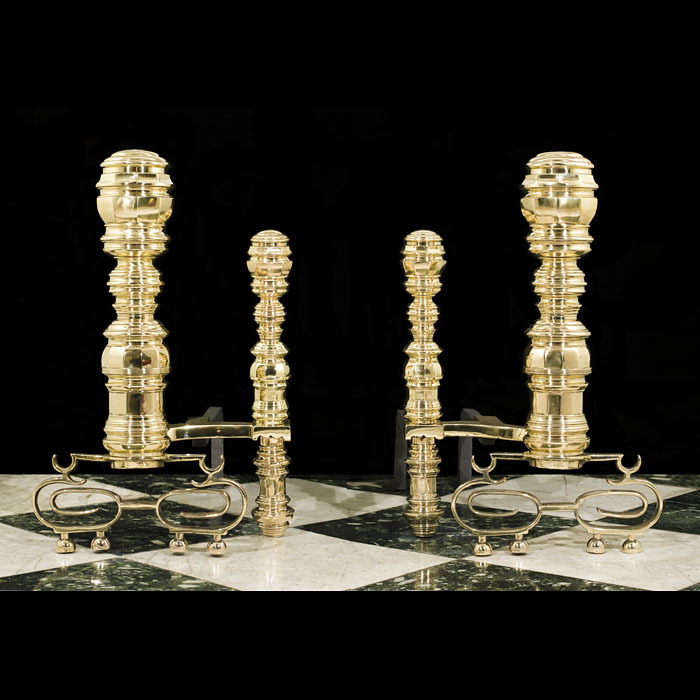 A Pair of Large Baroque Style Andirons