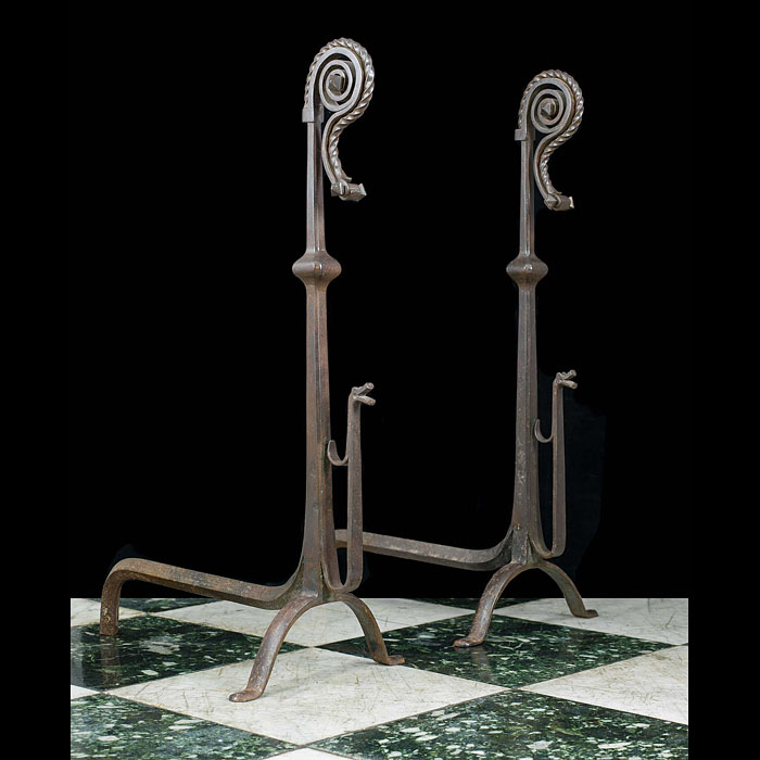 A Pair of Tall Jacobean Style Andirons