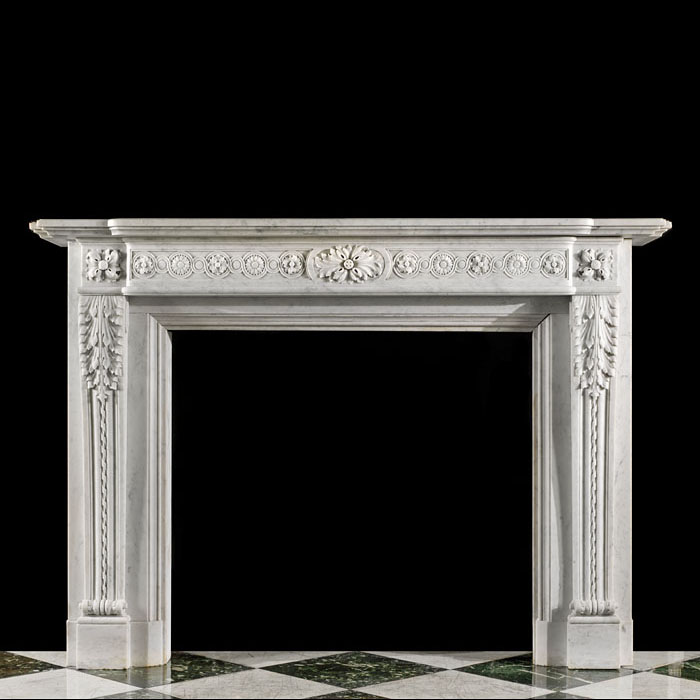 An Antique French Carrara Marble Fireplace