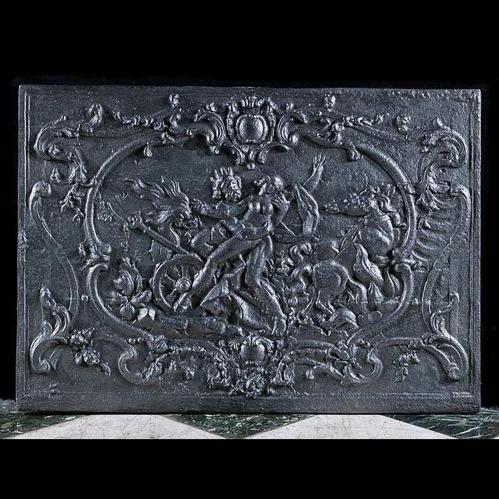 A Large French Cast Iron Antique Fireback