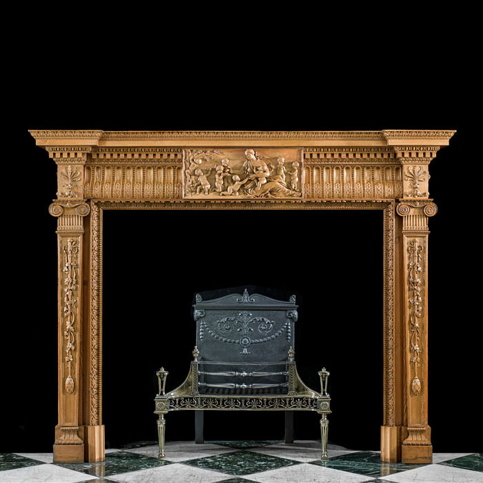 A Pine Neoclassical Style Fireplace Surround
