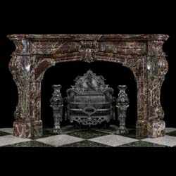 Large French Rosso Levanto Marble Fireplace