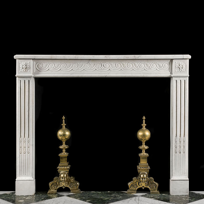 A French Carrara Marble Fireplace Surround