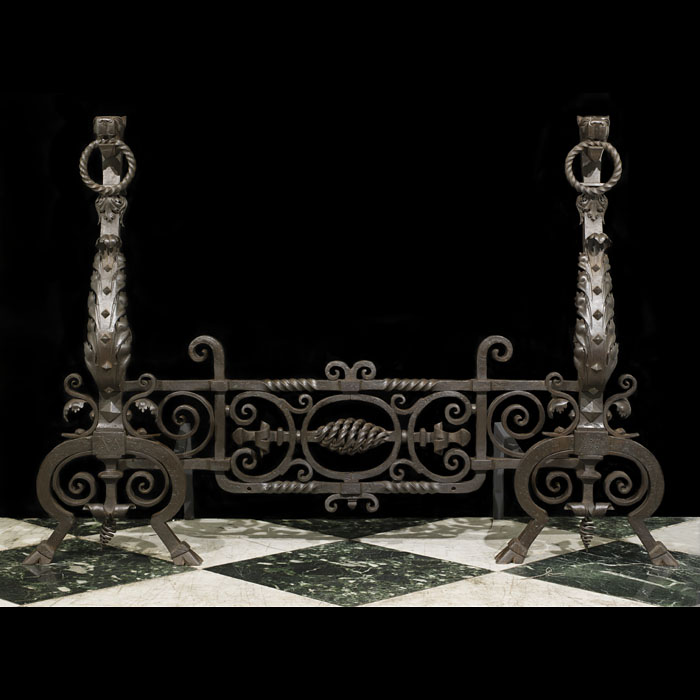 Large Wrought Iron Jacobean Style Andirons