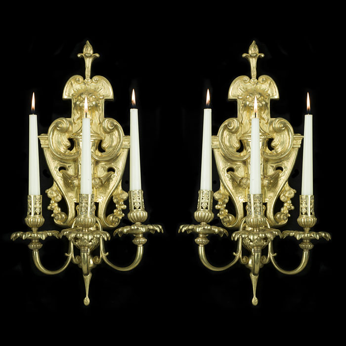 A Pair of Three Branch Bronze Wall Lights