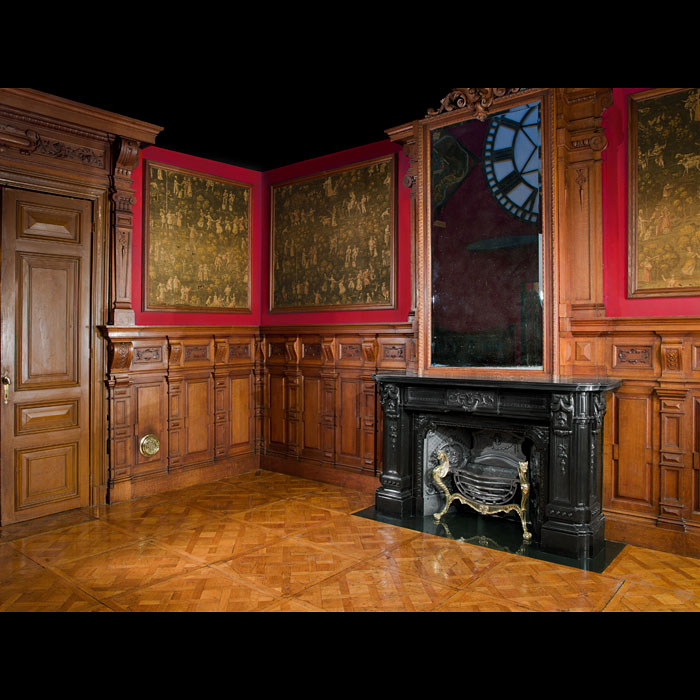 An French Oak Panelled Room & Chimneypiece