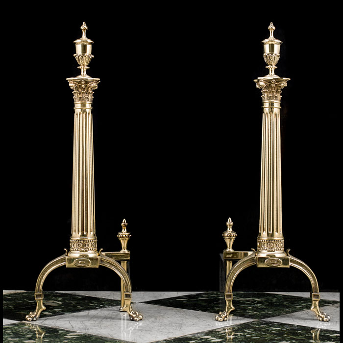 A Pair of Georgian Style Brass Andirons
