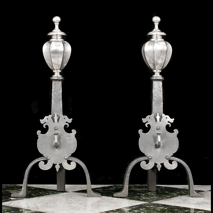 A Pair of Silver Plated Victorian Andirons