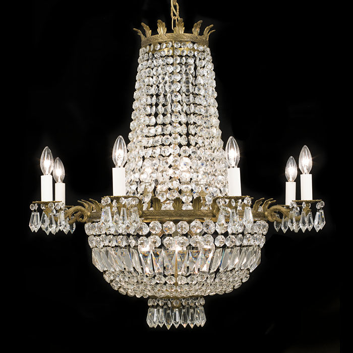 An Empire Style Cut Glass Bag Chandelier