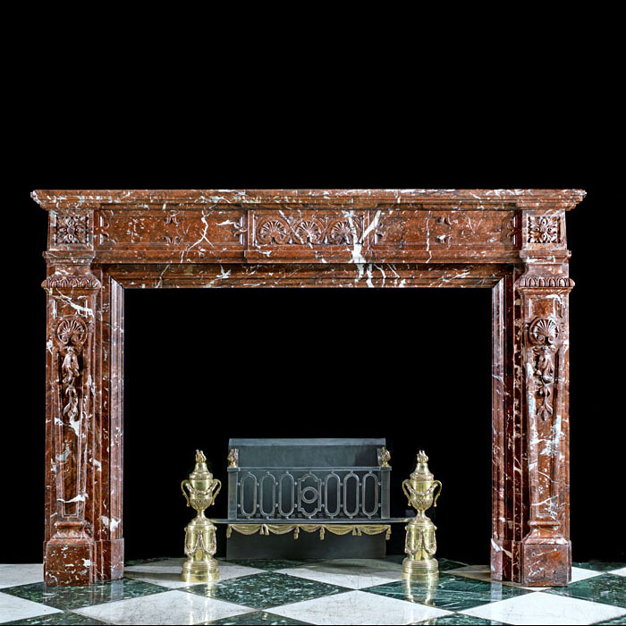 A Belgian Griotte Marble Victorian Fireplace