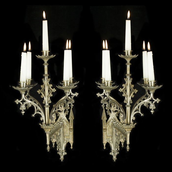 Pair of Silver Plated Pugin Style Wall Lights