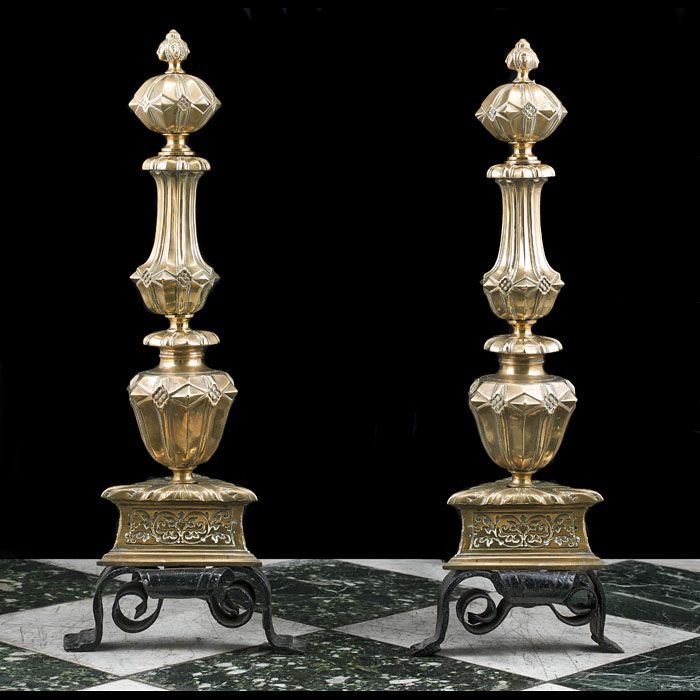 A Large Pair of Bronze Baroque Style Andirons
