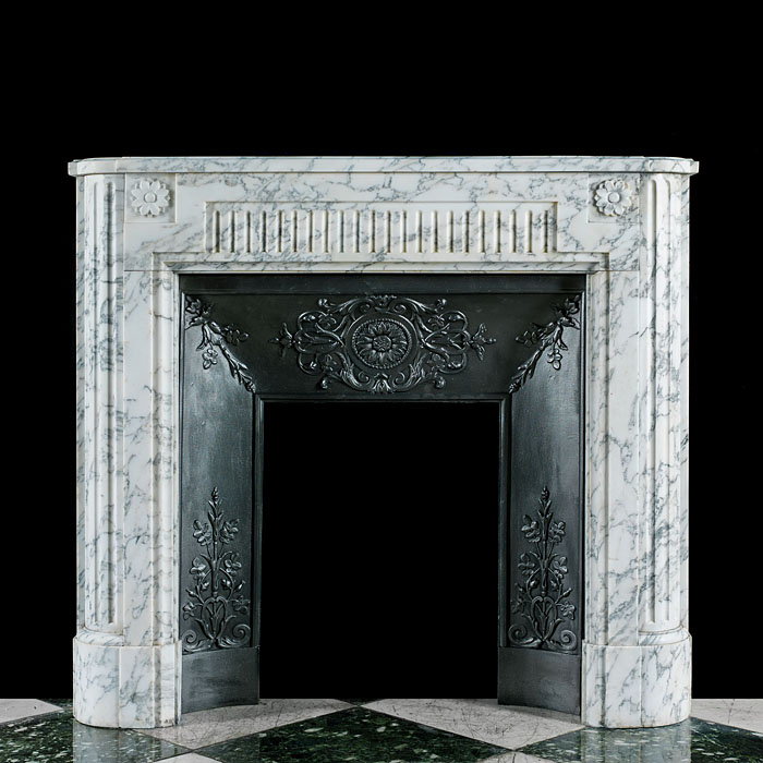 A small Louis XVI style Arabascato Marble chimneypiece