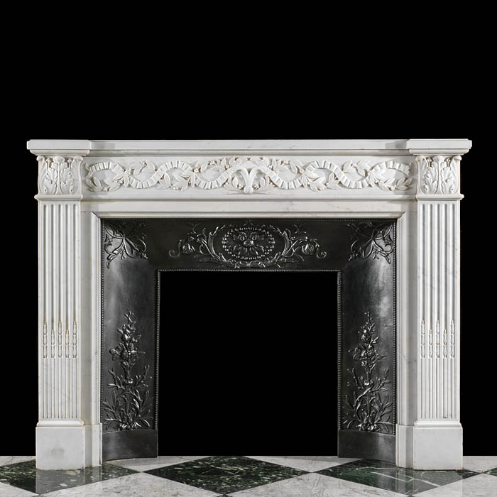 An attractive Statuary Marble antique French fireplace surround and insert