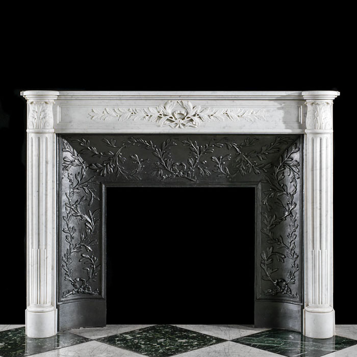 A Louis XVI Style Marble Fireplace Mantel