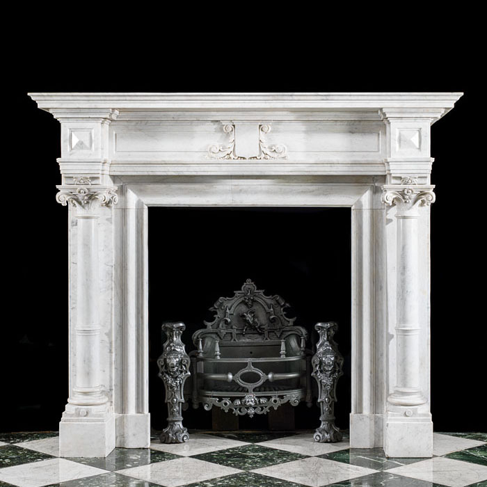 Belgian Columned Marble Fireplace Mantel