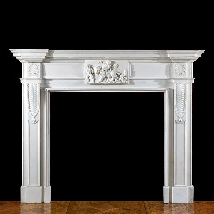 A Fine Statuary Marble Georgian Fireplace