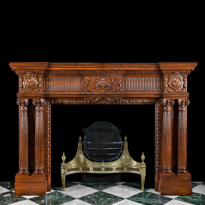 A Grand Victorian Walnut Fireplace Mantel