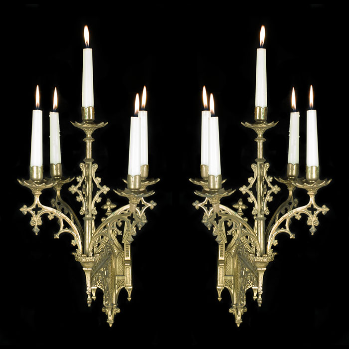 Pugin Style Silver Plated Wall Lights
