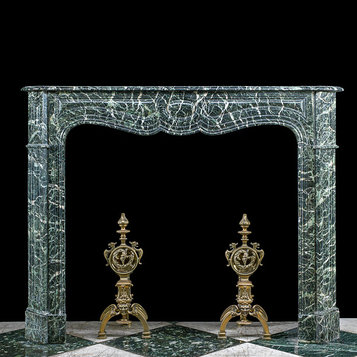 A Louis XVI Style Green Marble Fireplace